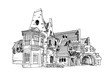 Vector sketch of HOUSE OF THE OWLS (CASINA DELLE CIVETTE) built in 1840 by Giuseppe Jappelli in the the Villa Torlonia, Rome, Italy