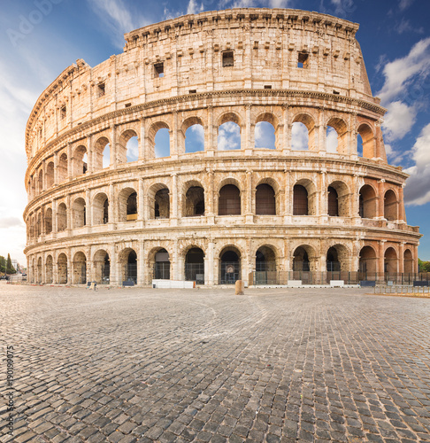 Photo  The Coliseum or Flavian Amphitheatre (Amphitheatrum Flavium or Colosseo), Rome, Italy