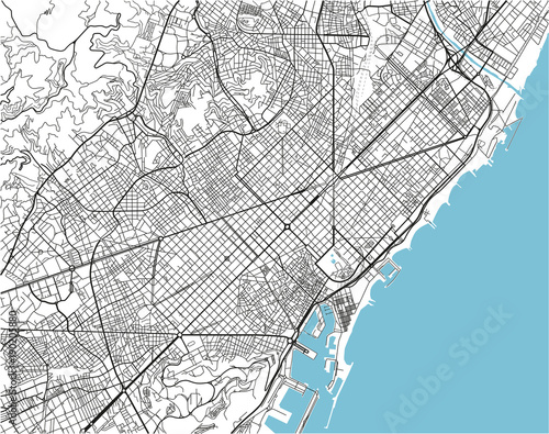 Canvas Print Black and white vector city map of Barcelona with well organized separated layers