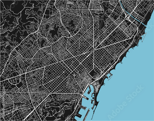 Photo Black and white vector city map of Barcelona with well organized separated layers