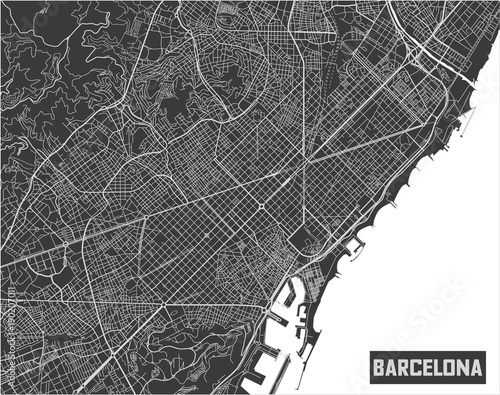 Canvas Print Minimalistic Barcelona city map poster design.