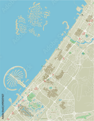 Fotografie, Obraz Vector city map of Dubai with well organized separated layers.