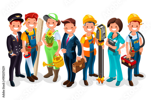 Labor Day. Vector worker group each person wearing job uniform of a specific profession or occupation. Different workmen and professional employers cartoon characters. Vector people flat illustration.