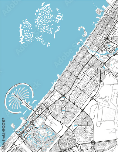 Obraz na plátně Black and white vector city map of Dubai with well organized separated layers