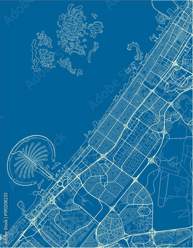 Canvas Print Blue and White vector city map of Dubai with well organized separated layers
