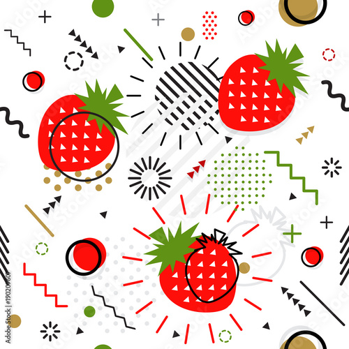 Foto op Canvas Kunstmatig Trendy seamless, Memphis style strawberry geometric pattern, vector
