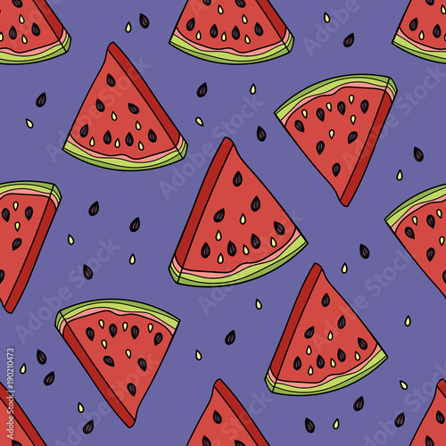 Poster Retro sign Seamless pattern with the slices of watermelon.