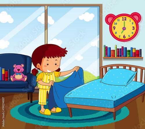 Poster Superheroes Girl in yellow pajamas making bed in bedroom