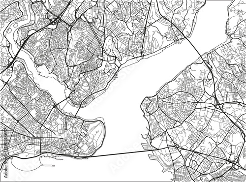 Black and white vector city map of Istanbul with well organized separated layers Canvas Print
