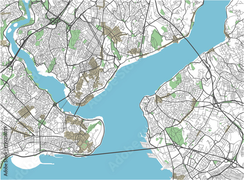 Obraz na plátně Colorful Istanbul vector city map