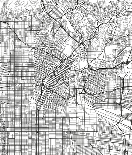 Fotomural Black and white vector city map of Los Angeles with well organized separated layers