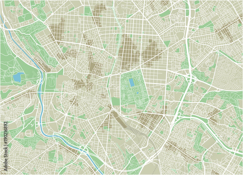 Canvas Print Vector city map of Madrid with well organized separated layers.