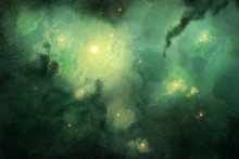 Green Space Star Nebula In Space Background. Digital Painting.