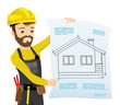 Builder in yellow helmet on white background.