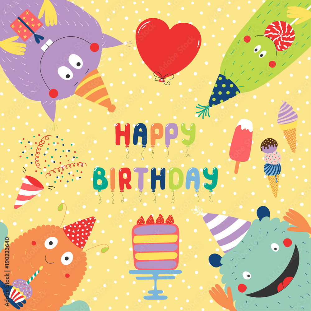 Hand Drawn Birthday Card With Cute Funny Monsters In Party Hats Looking From All Sides Cake Typography Foto Poster Wandbilder Bei EuroPosters