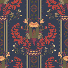Vector Floral Pattern, Victorian Style. Floral Bouquet With Ornament. Vertical Ornament