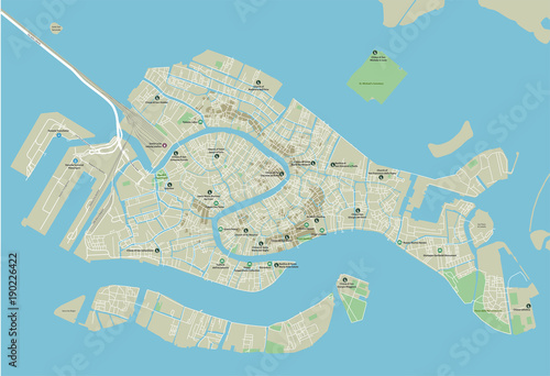 Fototapeta Vector city map of Venice with well organized separated layers.