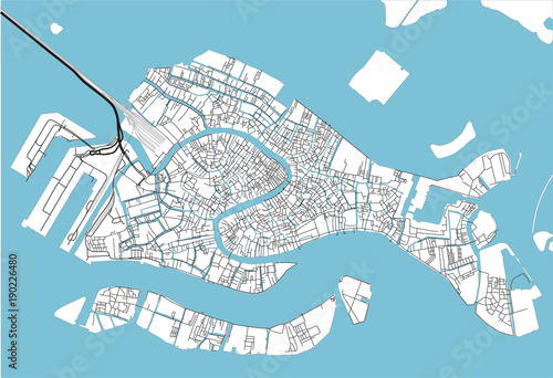 Fotografie, Obraz Black and white vector city map of Venice with well organized separated layers