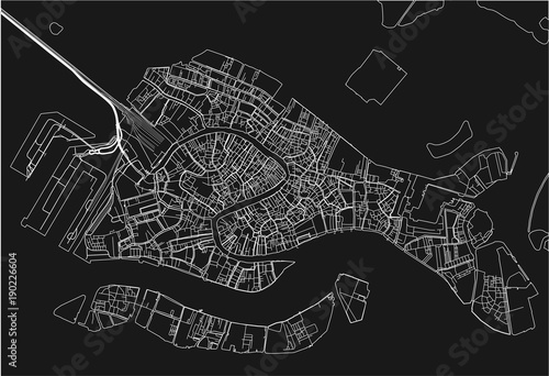 Obraz na plátně Black and white vector city map of Venice with well organized separated layers