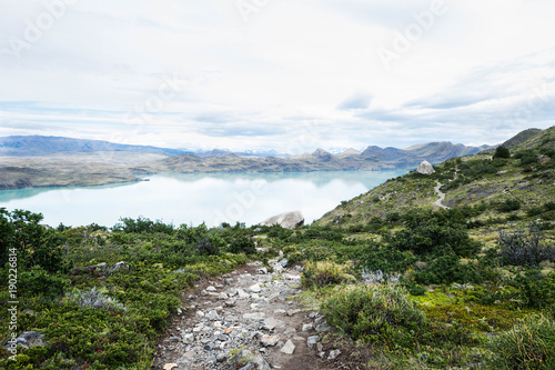Mountain path hiker at Torres del Paine, Patagonia, Chile Canvas Print