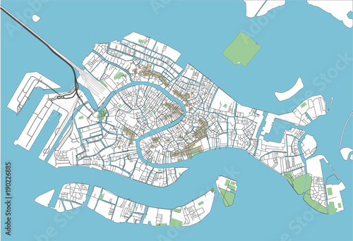 Fototapeta Colorful Venice vector city map