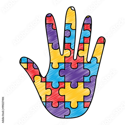 637a10f422d hand made puzzle pieces for autism awareness care vector ...