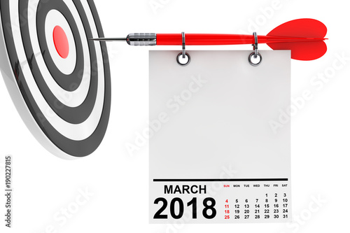 Photo  Calendar March 2018 with target. 3d Rendering