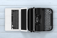 Modern Laptop Computer With Antique Typewriter. 3d Rendering