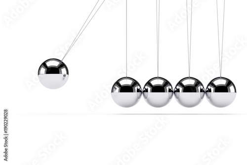 Classic Shiny Newton Cradle. 3d Rendering Wallpaper Mural