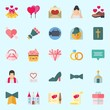 Icons set about Wedding with high heels, video camera, chat, wedding bells, cupcake and handbag