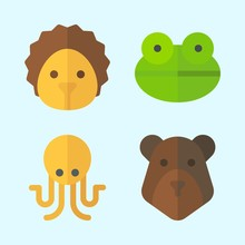 Icons Set About Animals With Hedgehog, Bear, Frog And Octobus