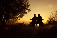 Silhouette Of A Romantic Coupl...