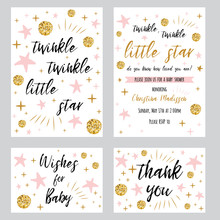 Baby Shower Girl Templates Twinkle Twinkle Little Star Text With Gold Polka Dot Pink Star Invtation Thank You Card