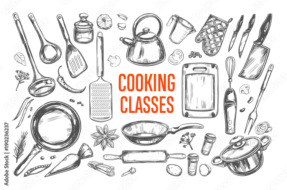 Fototapety, obrazy: Cooking classes and Kitchen utensil set. Vector hand drawn isolated objects. Icons in sketch style