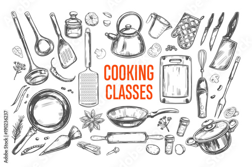 Fototapeta Cooking classes and Kitchen utensil set. Vector hand drawn isolated objects. Icons in sketch style obraz