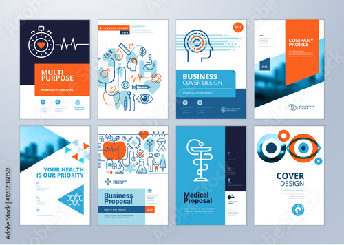 Set Of Medical Brochure Annual Report Flyer Design Templates In A4