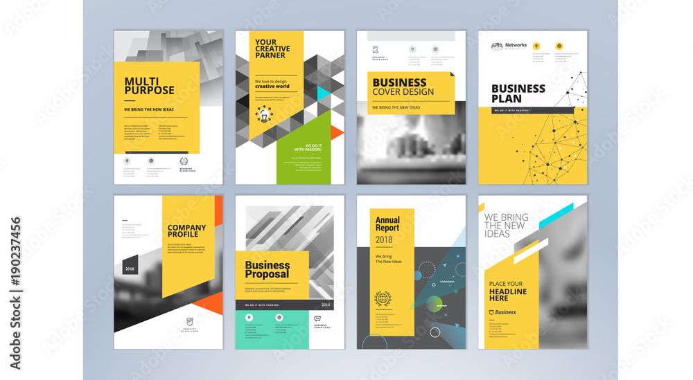 Fototapeta Set of business brochure, annual report, flyer design templates in A4 size. Vector illustrations for business presentation, business paper, corporate document cover and layout template designs.