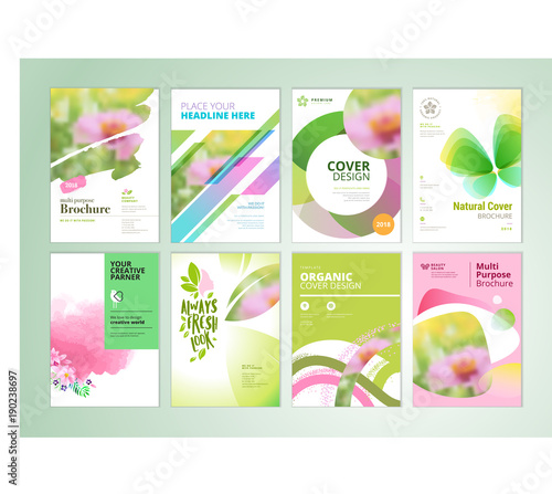 Set Of Natural Product Brochure Annual Report Flyer Design Templates Vector Illustrations For Beauty Organic Products And Cosmetics Presentation Document Cover And Layout Template Designs Buy This Stock Vector And Explore,Dining Room Mini Bar Designs For Living Room