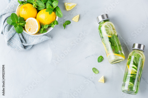 Cuadros en Lienzo Fresh cool lemon cucumber mint infused water detox drink