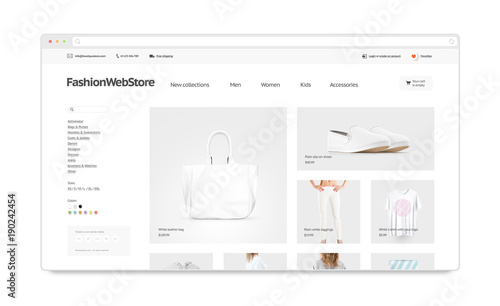 Fashion webstore site template mock up isolated, 3d illustration ...