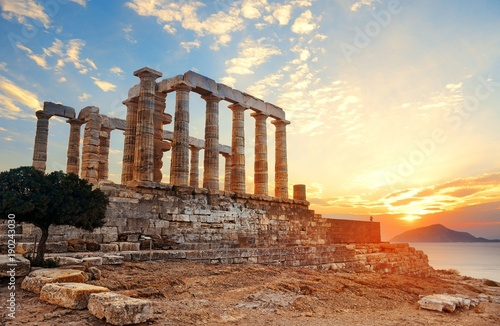 Foto op Plexiglas Athene Temple of Poseidon sunset