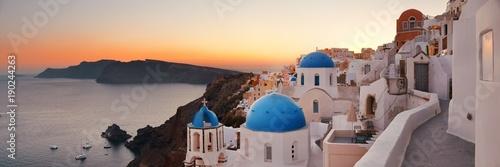 Poster de jardin Santorini Santorini skyline sunset