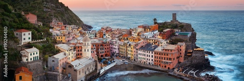 Vernazza buildings and sea in Cinque Terre panorama