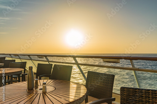 Beautiful sunset with view from a cruise ship.
