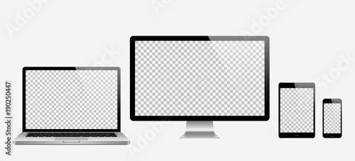 Fotografie, Obraz  Computer, laptop, tablet, phone set . Vector illustration