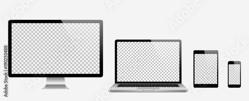 Fotografía  Computer, laptop, tablet, phone set . Vector illustration