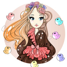 Cute Fashion Girl Cartoon Char...