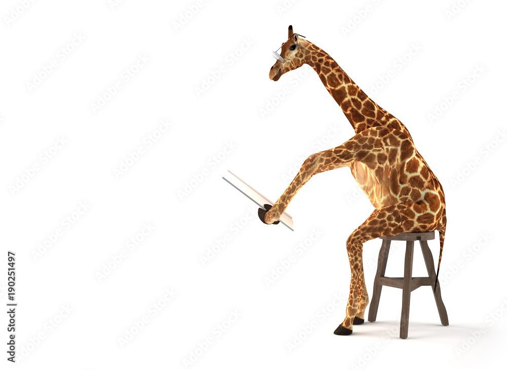 Giraffe beim Zeitung lesen