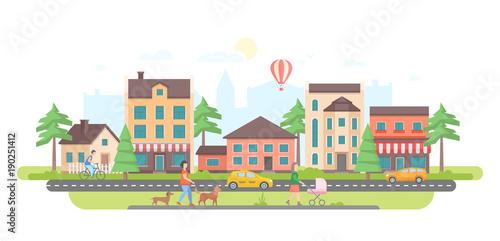Town life - modern flat design style vector illustration Fototapeta