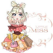 Little Miss Fashion Girl With Floral Frame, Anime Cartoon Character Comics Girl Portrait, Young Fashion Woman Vector Illustration
